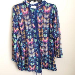 Vtg Duffel Sportswear Mesh Butterfly Print Jacket